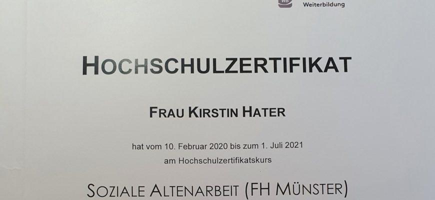 """weitere Qualifikation """"Soziale Altenarbeit"""" (FH)"""